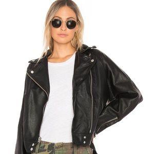 Free People Drapey Vegan Leather Jacket w/ Hood
